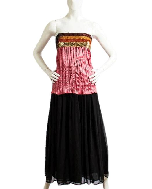 Item - Pink Gold Brown Orange 80's Sequined Strapless Sku 000029 Tunic Size 6 (S)
