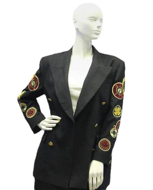 Item - Black Red Green Gold Rare Collectible Clock Patches 70's Vintage Jacket Blazer Size 8 (M)