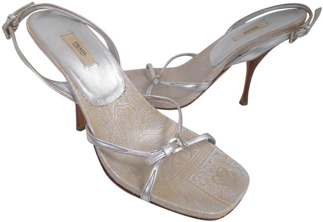 Item - Silver Leather Strappy Slingback Heels Sandals Size EU 38.5 (Approx. US 8.5) Regular (M, B)