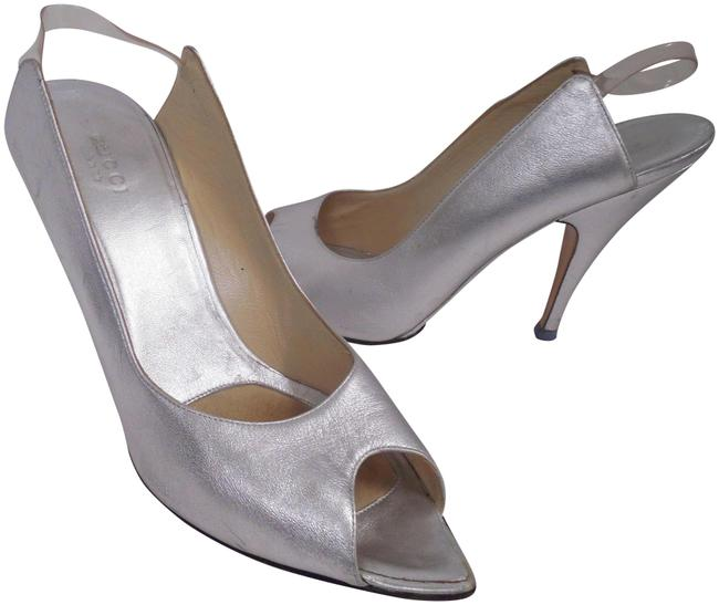 Item - Silver Leather Pointy Open Heels Italy Pumps Size US 9.5 Regular (M, B)