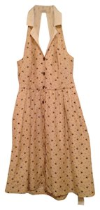 Anthropologie short dress Beige Bee Print Spring Summer Retro 50's on Tradesy