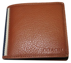 Coach Coach men's LEATHER COMPACT ID WALLET, Coach Multi-Function Wallet (Ship Via Priority Mail) (Gift Box Is Included)