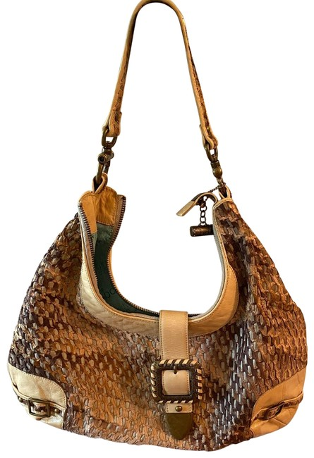 Item - Purse Gold and Brown. Woven Leather Shoulder Bag