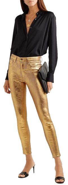 Item - Gold Coated (Nwt) Margot High Rise Crackle Skinny Jeans Size 27 (4, S)