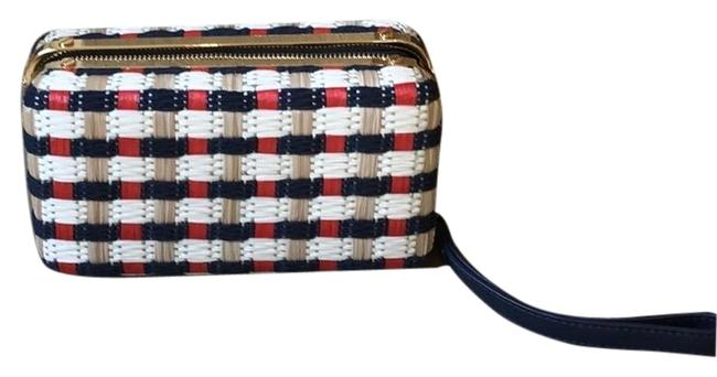 Item - Zip White Red Navy Straw and Leather Clutch
