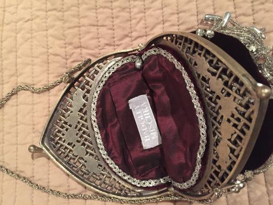 Badgley Mischka Satchel in Deep burgundy with stones and beads