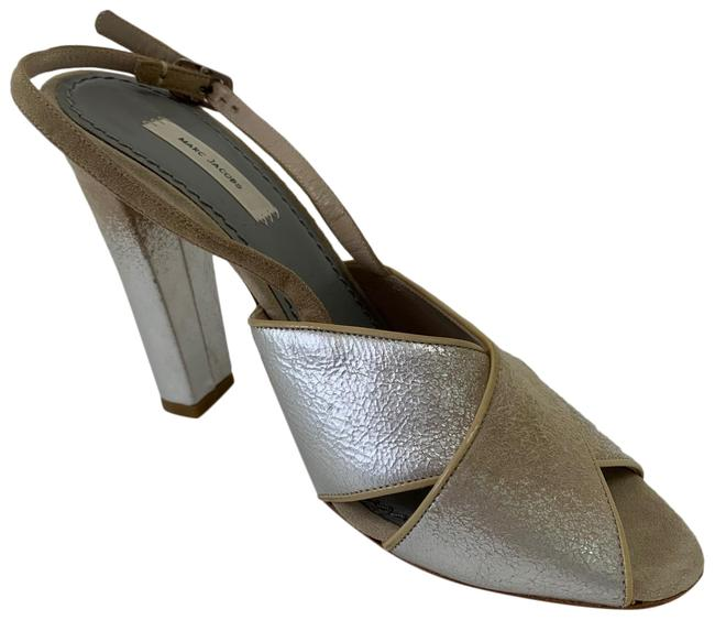 Item - Silver Leather Criss Cross Open Toe Heels with Ankle Strap Sandals Size US 7.5 Regular (M, B)
