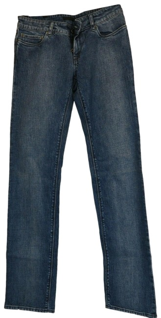 Item - Blue Light Wash Gfpa28 Navy Comfort Denim Lettering Logo Relaxed Fit Jeans Size 28 (4, S)