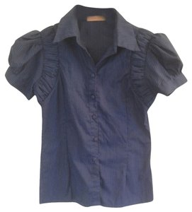 Other Puff Sleeves Stripe Button Down Shirt Blue