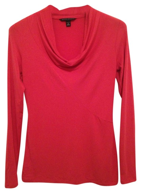 Banana Republic Long Sleeve Cowl Jersey Knit Pink Soft Comfortable T Shirt Hibiscus
