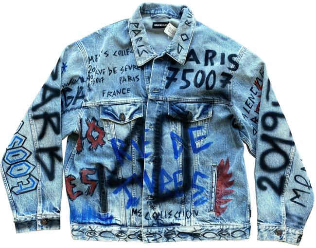Item - Denim Graffiti Big Fit Grafiti Jacket Size 12 (L)