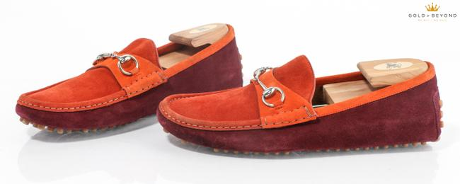 Item - Orange/Maroon Horsebit Bamboo Suede Loafers Size 10.5 Shoes