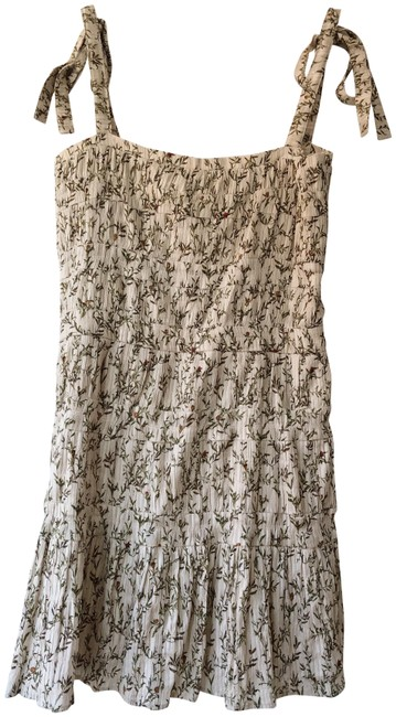 Cream Brown Multi Floral Alba Short Casual Dress Size 6 (S) Cream Brown Multi Floral Alba Short Casual Dress Size 6 (S) Image 1