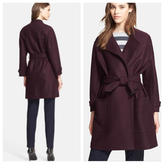 Item - Wine Burgundy Red Belted Wool Wrap Jacket Coat Size 4 (S)