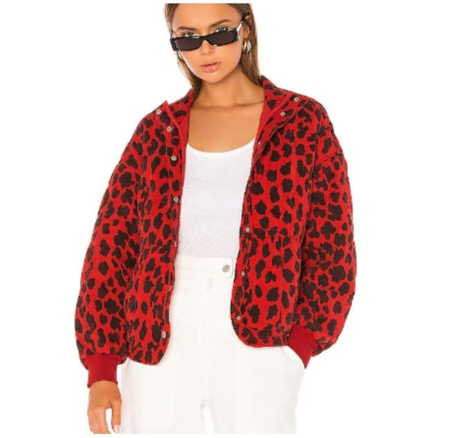 Item - Red Black Quilted Animal Print Jacket Size 10 (M)