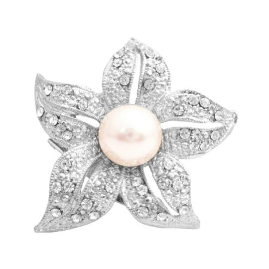 Brilliant Prong Set Clear Round Rhinestone Embedded Five Petals Brooch