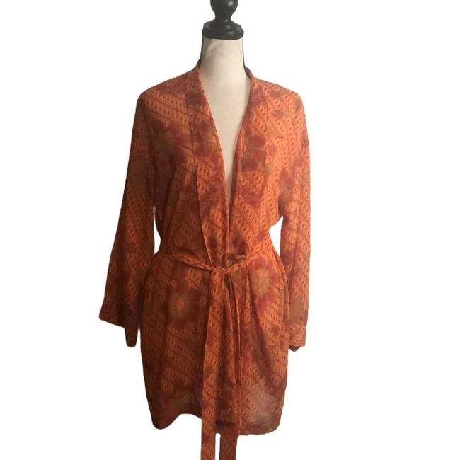 Item - Orange Print Wrap Tie Robe Cover-up/Sarong Size OS (one size)