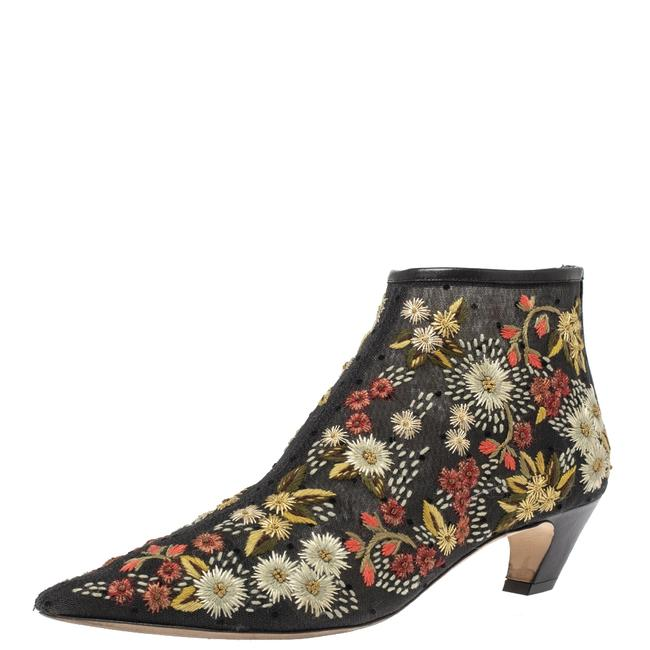 Dior Black Mesh Floral Embroidered Ankle 39.5 Boots/Booties Size US 9.5 Regular (M, B) Dior Black Mesh Floral Embroidered Ankle 39.5 Boots/Booties Size US 9.5 Regular (M, B) Image 1
