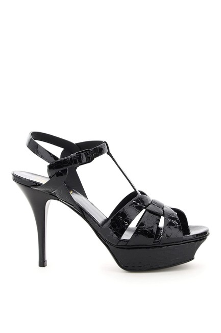Saint Laurent Black Tribute Sn In Embossed Crocodile Patent Leather Sandals Size EU 38 (Approx. US 8) Regular (M, B) Saint Laurent Black Tribute Sn In Embossed Crocodile Patent Leather Sandals Size EU 38 (Approx. US 8) Regular (M, B) Image 1