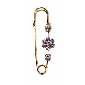 Gold Metal Sparkle Like Diamond Cubic Zircon Flower Safety Pin