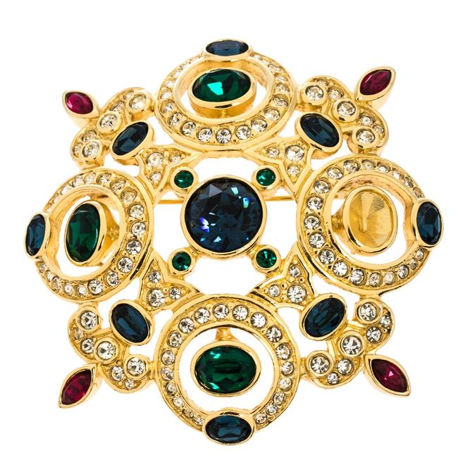 Dior Multicolor Vintage Crystal Gold Tone Pin Brooch Dior Multicolor Vintage Crystal Gold Tone Pin Brooch Image 1