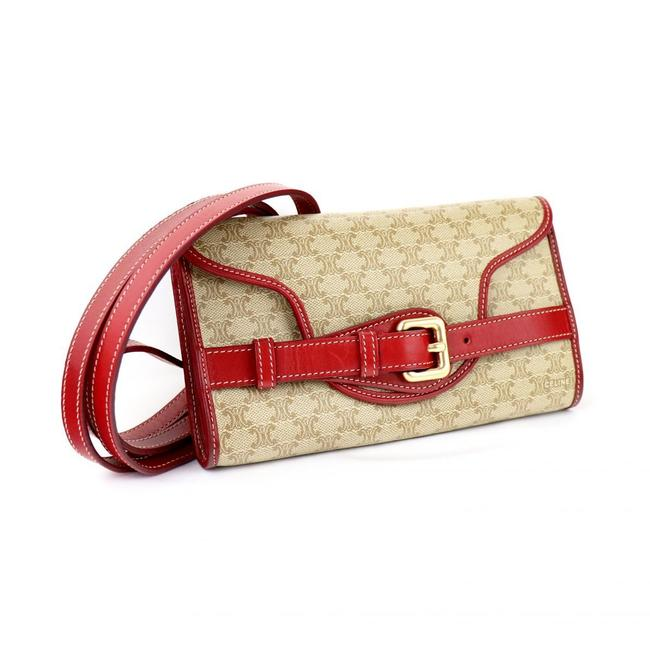 Céline Macadam Pattern Mini Pouch Old Ce00/22 Ladies Beige / Red Color Leather / Pvc Shoulder Bag Céline Macadam Pattern Mini Pouch Old Ce00/22 Ladies Beige / Red Color Leather / Pvc Shoulder Bag Image 1