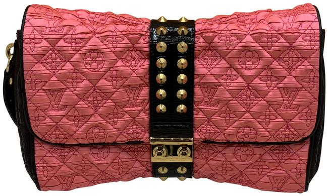 Louis Vuitton Pochette XL Coquette Pink/Black Satin/Leather Clutch Louis Vuitton Pochette XL Coquette Pink/Black Satin/Leather Clutch Image 1