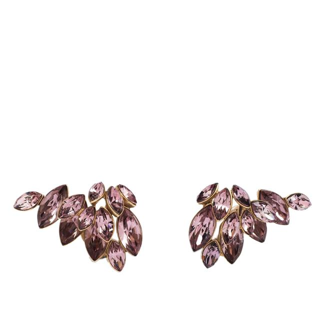 Dior Pink Gold Tone Floral Crystal Clip On Earrings Dior Pink Gold Tone Floral Crystal Clip On Earrings Image 1