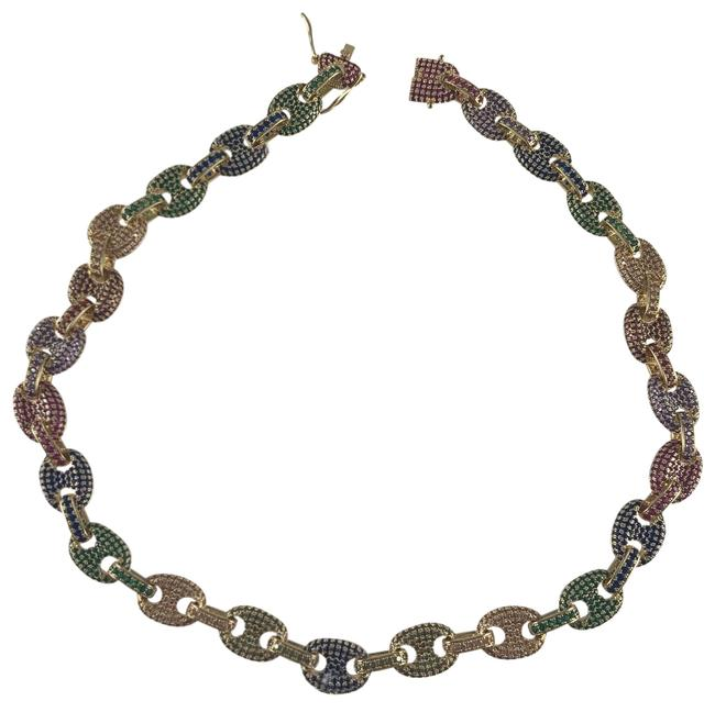 Lexico Fashion Gold Pave Rainbow Gucci Link Chain Necklace Lexico Fashion Gold Pave Rainbow Gucci Link Chain Necklace Image 1