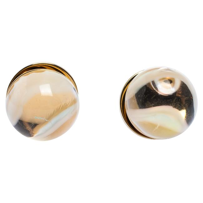 Burberry Multicolor Marbled Resin Sphere Gold Tone Stud Earrings Burberry Multicolor Marbled Resin Sphere Gold Tone Stud Earrings Image 1