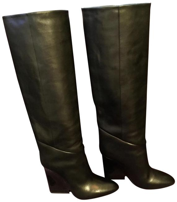 Item - Black Gray Tall Leather Wedge Lacquered Wood Heels Boots/Booties Size EU 37 (Approx. US 7) Regular (M, B)