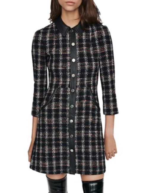 Preload https://img-static.tradesy.com/item/27896776/maje-tweed-and-leather-short-workoffice-dress-size-2-xs-0-0-650-650.jpg