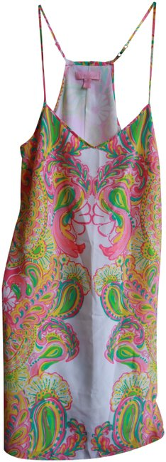 Preload https://img-static.tradesy.com/item/27896793/lilly-pulitzer-pink-and-green-paisley-sleeveless-bright-tropical-colors-short-casual-dress-size-2-xs-0-1-650-650.jpg
