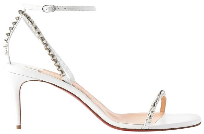 Christian Louboutin White So Me 70 Studded Leather Heels Sandals Size EU 37.5 (Approx. US 7.5) Regular (M, B) Christian Louboutin White So Me 70 Studded Leather Heels Sandals Size EU 37.5 (Approx. US 7.5) Regular (M, B) Image 1