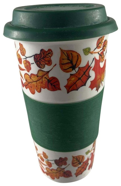 Century White 2 Piece Fall Leave Portable Coffee Cup Century White 2 Piece Fall Leave Portable Coffee Cup Image 1