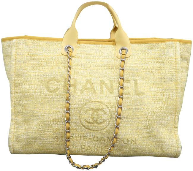 Chanel Deauville Large Shopping Yellow Canvas Shoulder Bag Chanel Deauville Large Shopping Yellow Canvas Shoulder Bag Image 1