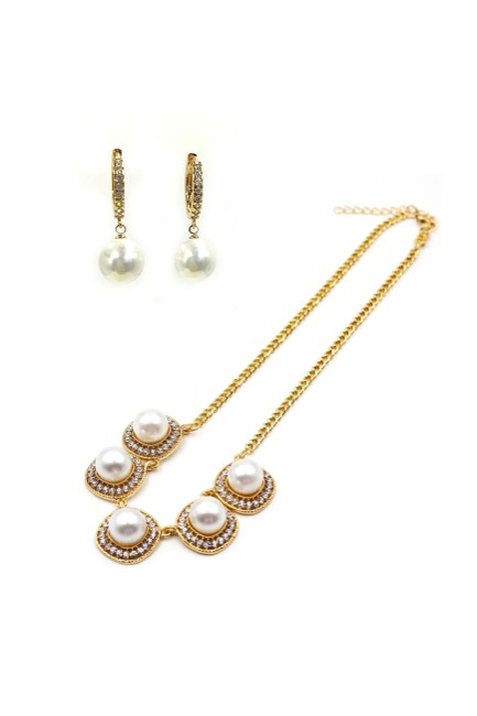 Ocean Fashion Gold Inlaid Pearl Earring Set Necklace Ocean Fashion Gold Inlaid Pearl Earring Set Necklace Image 1
