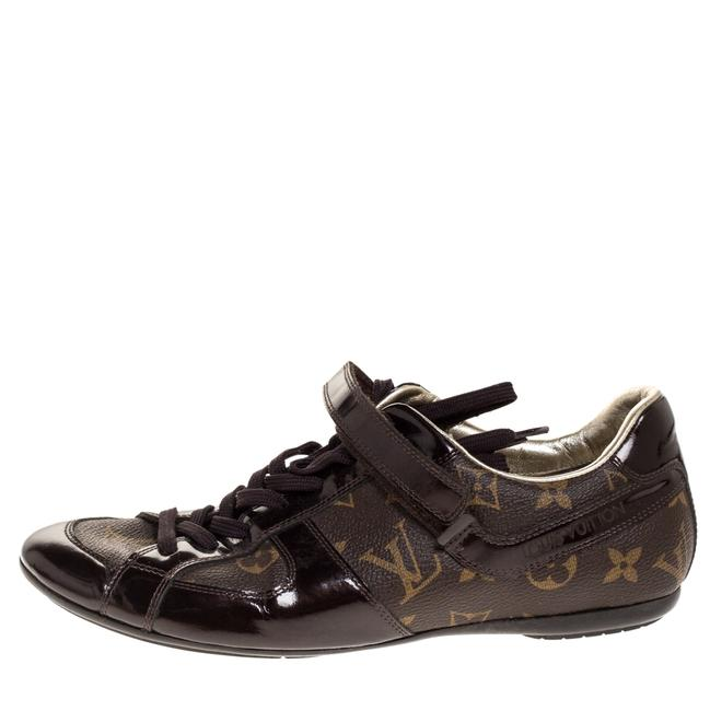 Louis Vuitton Brown Patent Leather and Monogram Canvas Lace Up 38 Sneakers Size US 8 Regular (M, B) Louis Vuitton Brown Patent Leather and Monogram Canvas Lace Up 38 Sneakers Size US 8 Regular (M, B) Image 1