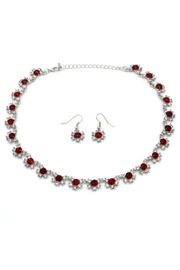 Preload https://img-static.tradesy.com/item/27896991/ocean-fashion-silver-red-classic-crystal-earring-set-necklace-0-0-540-540.jpg