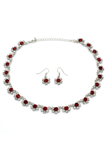 Ocean Fashion Silver Red Classic Crystal Earring Set Necklace Ocean Fashion Silver Red Classic Crystal Earring Set Necklace Image 1