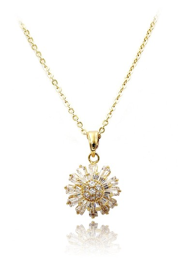 Preload https://img-static.tradesy.com/item/27897001/ocean-fashion-gold-925-brilliant-little-sun-crystal-necklace-0-0-540-540.jpg