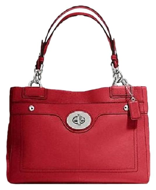 """Item - Carryall New Amazing """"Penelope"""" Red True Red-silver Pebbled Leather Satchel"""