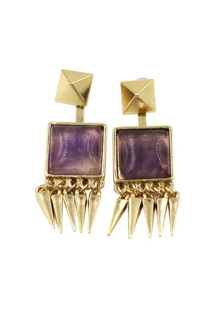 Ocean Fashion Purple Square Crystal Golden Earrings Ocean Fashion Purple Square Crystal Golden Earrings Image 1