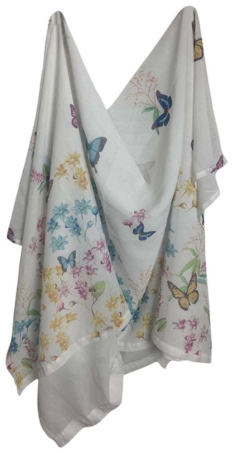 White Butterfly Opaque Polyester Button Up Curtain White Butterfly Opaque Polyester Button Up Curtain Image 1