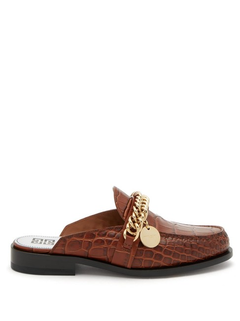 Givenchy Brown Mf Chain-embellished Leather Backless Loafers Flats Size EU 39 (Approx. US 9) Regular (M, B) Givenchy Brown Mf Chain-embellished Leather Backless Loafers Flats Size EU 39 (Approx. US 9) Regular (M, B) Image 1
