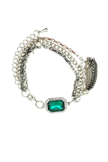 Ocean Fashion Green Simple Crystal Silver Bracelet Ocean Fashion Green Simple Crystal Silver Bracelet Image 1