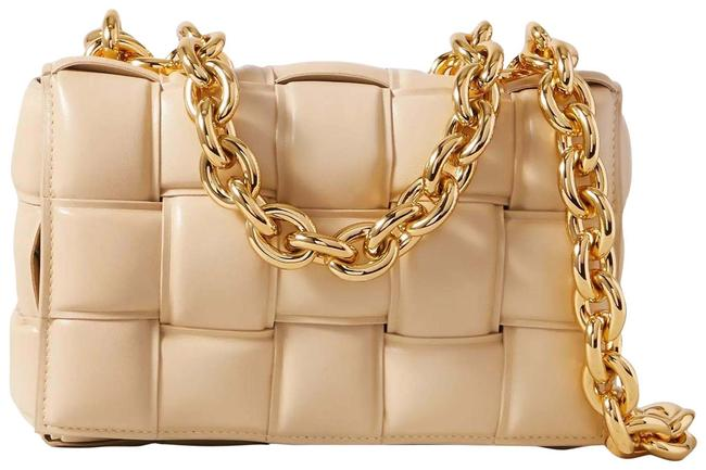 Bottega Veneta Cassette Padded Intrecciato Glossed-leather Beige Leather Shoulder Bag Bottega Veneta Cassette Padded Intrecciato Glossed-leather Beige Leather Shoulder Bag Image 1