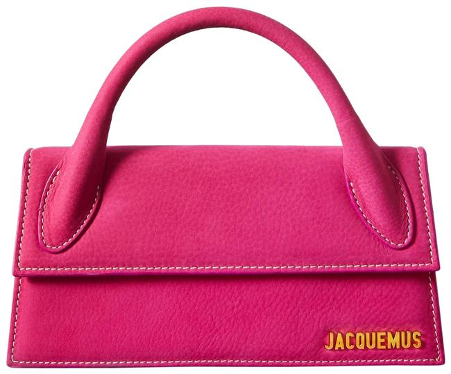 Jacquemus Le Chiquito Long Nubuck Tote Bright Pink Leather Cross Body Bag Jacquemus Le Chiquito Long Nubuck Tote Bright Pink Leather Cross Body Bag Image 1