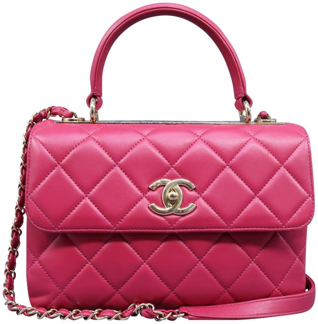 Chanel Small Trendy Cc Fuchsia Lambskin Leather Satchel Chanel Small Trendy Cc Fuchsia Lambskin Leather Satchel Image 1
