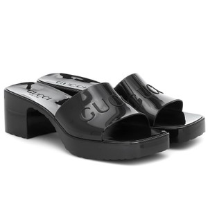 Item - Black Logo Rubber Slide Heels Sandals